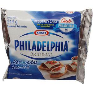Queso Crema  Philadelphia Rebanado  Kraft  144.0 - Gr